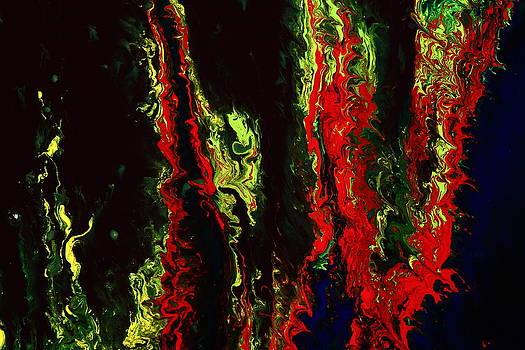 New York New York - Red Green Fluid Abstract Art by kredart by Serg Wiaderny