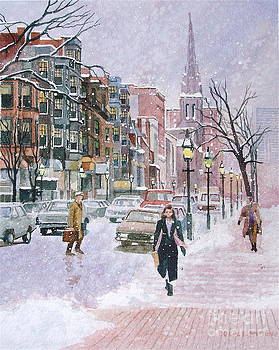 Newbury Street Flurries by Karol Wyckoff