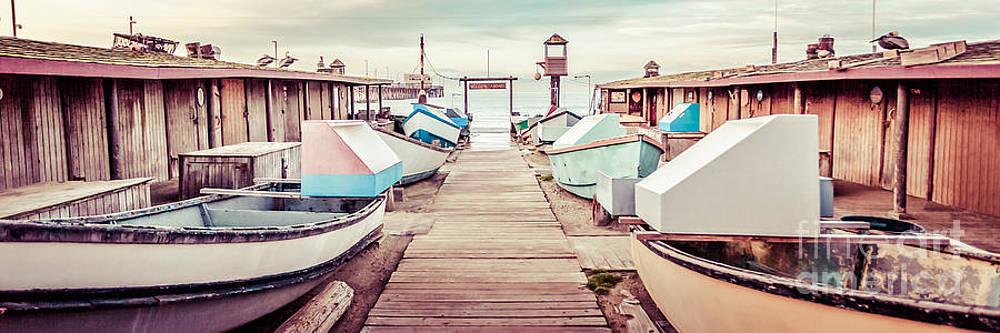 Paul Velgos - Newport Beach Dory Fleet Retro Panorama Photo