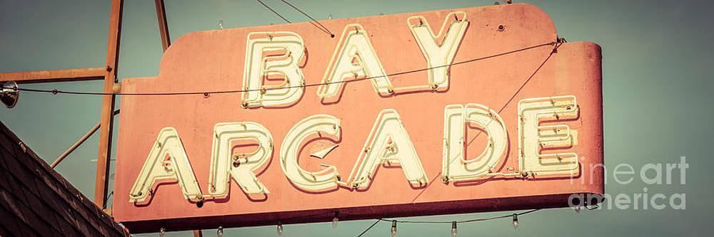 Paul Velgos - Newport Beach Panoramic Retro Photo of Bay Arcade Sign