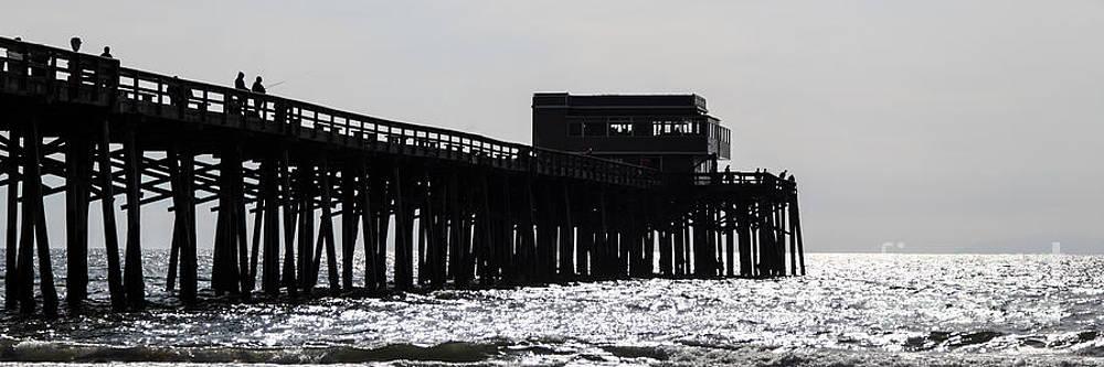 Paul Velgos - Newport Beach Pier Panorama Black and White Photo