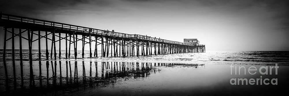 Paul Velgos - Newport Beach Pier Panoramic Photo in Black and White