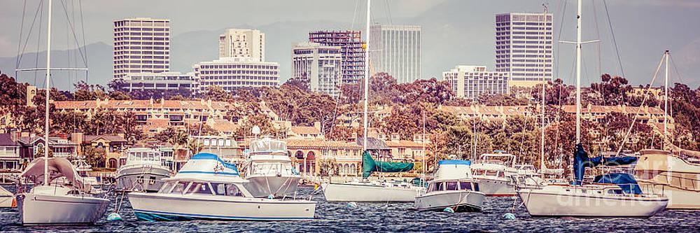Paul Velgos - Newport Beach Skyline Panorama Vintage Tone