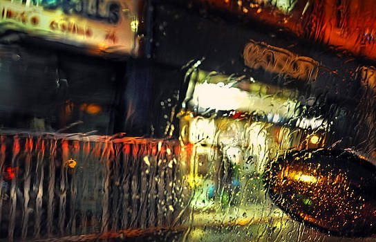 Jenny Rainbow - Night Lights of Dublin. Rain. Impressionism