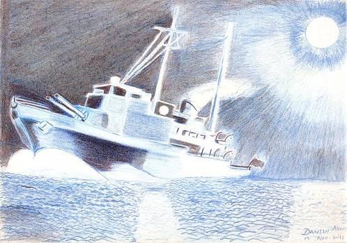Night  sea patrol  by Danish Anwer