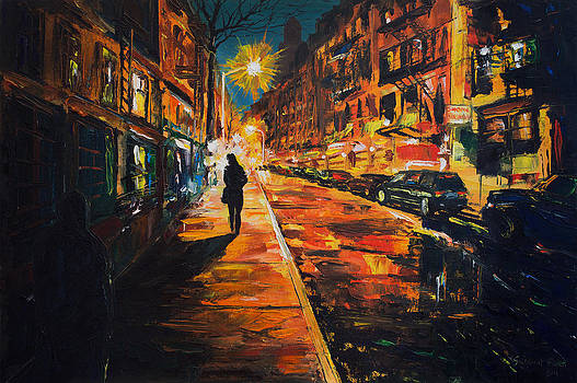 Night street. Woman walking in Cornelia Sreet NY. by Salavat Fidai