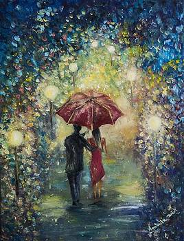 Night walk in the rain by Agnieszkaa Dzida