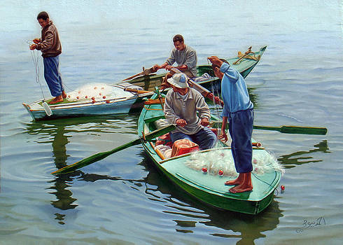 Nile River Fishermen  by Ahmed Bayomi