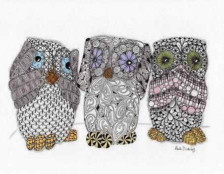 No Evil Owls by Paula Dickerhoff