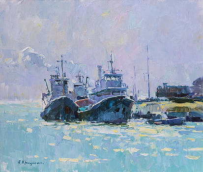 Noon at the port  by Alexander  Kriushin