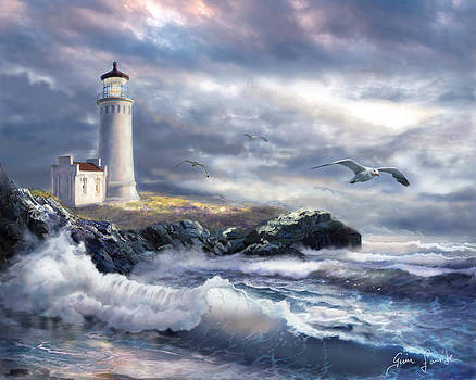 North Head lighthouse at the eve of a storm by Gina Femrite