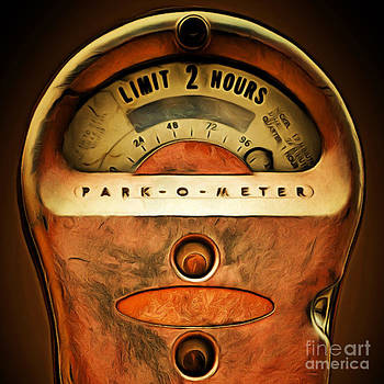 Wingsdomain Art and Photography - Nostalgic Vintage Parking Meter Two Hour Limit 20150225 square