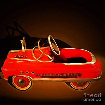 Wingsdomain Art and Photography - Nostalgic Vintage Toy Fire Engine 20150228 square