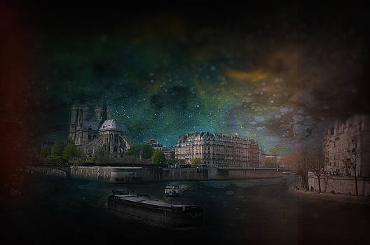 Notre Dame with Barges by James Bethanis