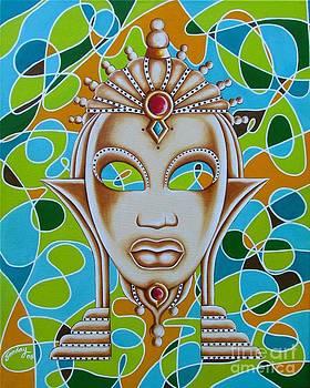 Nubian Modern Ivory Mask  by Joseph Sonday