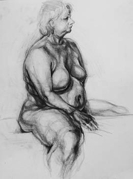 Nude-2 by pencil by Olusha Permiakoff