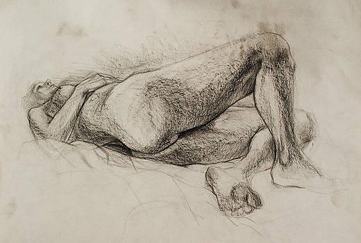Nude-4 by pencil by Olusha Permiakoff
