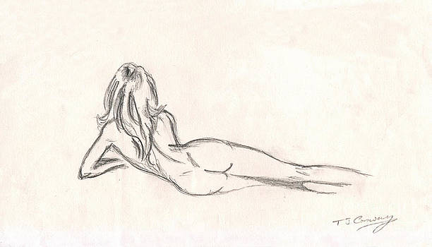 Nude Figure Drawing by Tom Conway