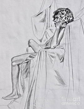 Nude in a Draped Chair by Jaswant Khalsa