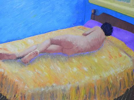 Nude in Blue Room by Ernie Goldberg