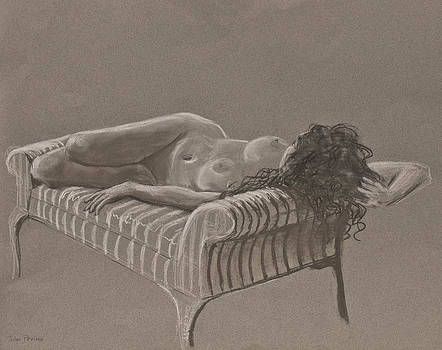 Nude on Striped Sofa by Don Perino