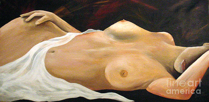 Nude with Sheet by Donna Laplaca