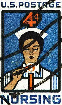 Nursing Vintage Postage Stamp Print by Andy Prendy