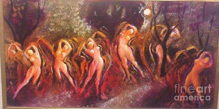 Nymphs Dancing by Moonlight by Elsie Wilde
