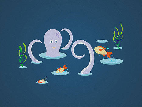 Octopus playing with fish by Cosmin Bicu