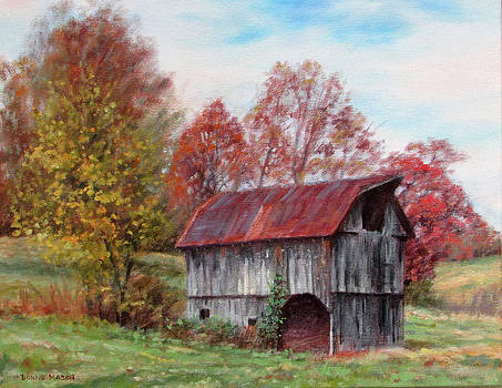 Off the Beaten Track-old barn with red roof by Bonnie Mason