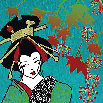 Oiran with Maple Leaves by dreXeL