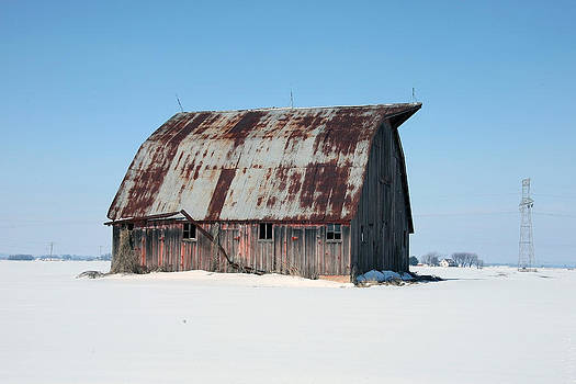 Old Barn In Snow by Al Blount