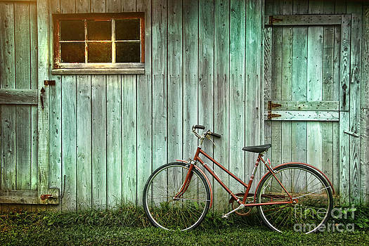 Sandra Cunningham - Old bicycle leaning against grungy barn