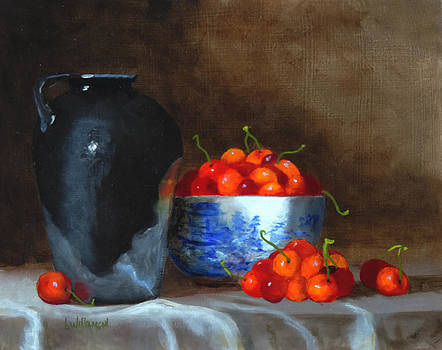 Old Black jug and cherries by Barry Williamson