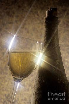 BERNARD JAUBERT - Old bottle of red wine with a glass
