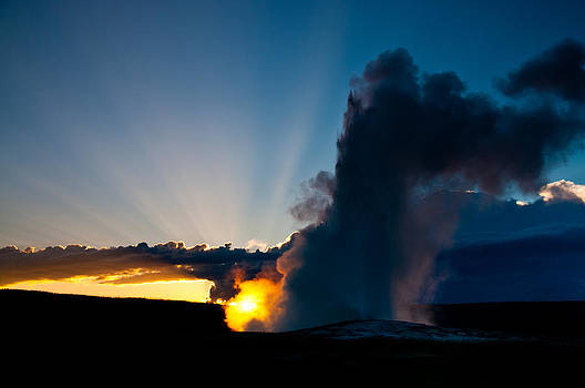 Old Faithful at Sunset 1 by Tom Wenger