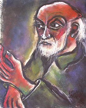 Old Man Balding with Raised Left Hand by Kenneth Agnello