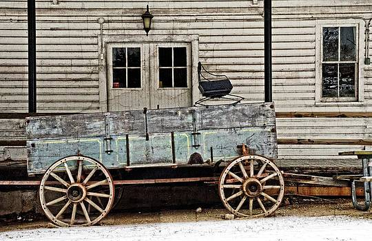 Old mill and wagon by Cheryl Cencich