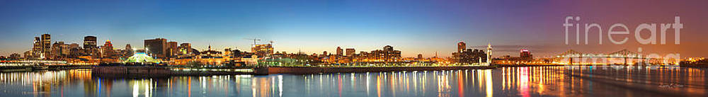 Old Montreal by Night Panorama  by Laurent Lucuix