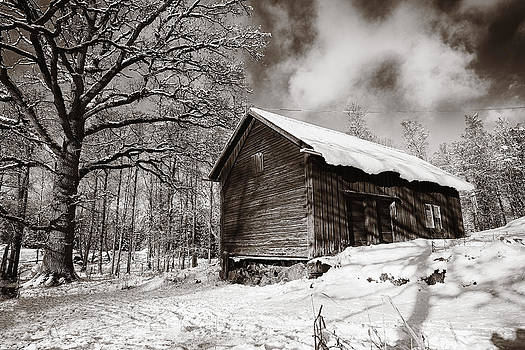 Old Rural Barn In A Winter Landscape by Christian Lagereek