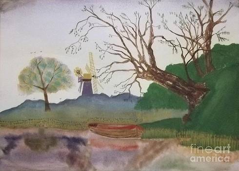 Old Willow and Boat by John Williams