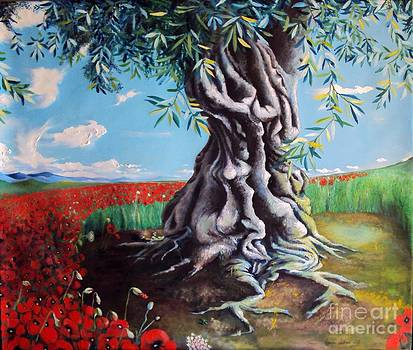 Olive Tree In A Sea Of Poppies by Alessandra Andrisani