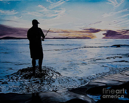 Ian Donley - On the Beach Fishing at Sunset
