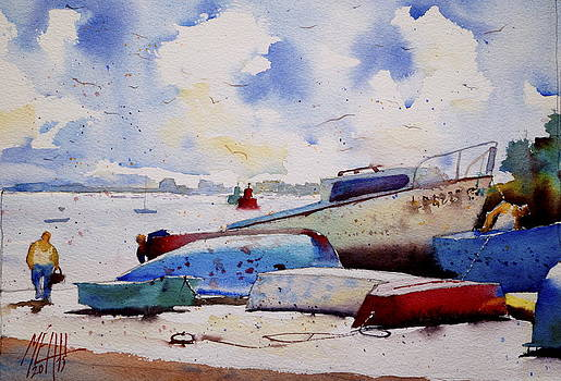 On the shipyard at Locmalo  Port Louis by Andre MEHU