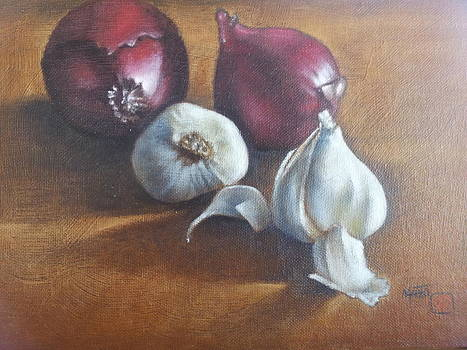 Onion With Garlic  by Mahto Hogue