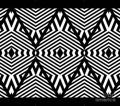 Op Art Black White Pattern Print No.336. by Drinka Mercep