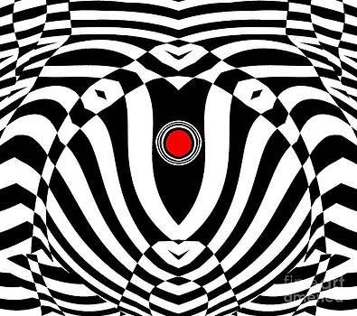 Op Art Geometric Black White Red  Abstract No.383. by Drinka Mercep