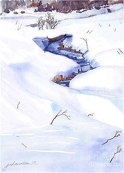 Open Stream In Winter by Joan A Hamilton