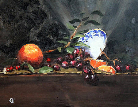 Orange and Grapes by Ellen Howell