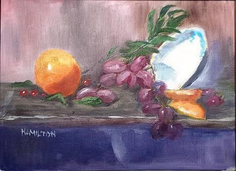 Orange and Grapes Still Life by Larry Hamilton